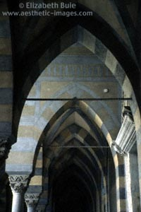 Arches along the front of the Duomo, Amalfi (copyright Elizabeth Buie)